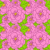 Abstract Seamless Doodle Pattern With Flowers