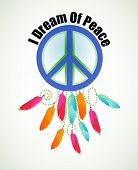 stock photo of peace-sign  - Peace sign dream catcher  feathers  - JPG