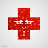 Medical cross with medical icons.