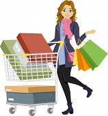 Illustration of a Teenage Girl on a Shopping Spree