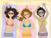 stock photo of sunbathers  - Illustration of a Group of Female Teens Sunbathing at the Beach - JPG