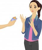 Illustration of a Teenage Girl Refusing the Cigarettes Being Offered to Her