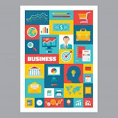 Business - mosaic poster with icons in flat design style. Vector icons set.