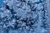 Blue Frost On Glass Window Macro