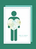Vector mysterious green garden man in love silhouette frame pattern invitation greeting card templat