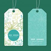 Vector mysterious green garden vertical round frame pattern tags set