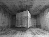 Flying Cube In Abstract 3D Concrete Room Interior