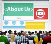 Digital Online Information About us Business Concept