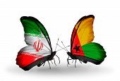 Two Butterflies With Flags On Wings As Symbol Of Relations Iran And Guinea Bissau