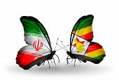 Two Butterflies With Flags On Wings As Symbol Of Relations Iran And Zimbabwe