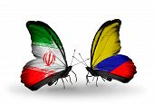 Two Butterflies With Flags On Wings As Symbol Of Relations Iran And Columbia