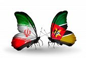Two Butterflies With Flags On Wings As Symbol Of Relations Iran And Mozambique