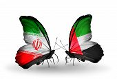 Two Butterflies With Flags On Wings As Symbol Of Relations Iran And United Arab Emirates