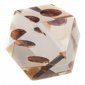 foto of prism  - a penny encased in an acrylic prism isolated over a white background - JPG