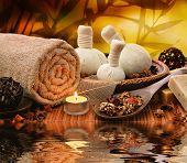 foto of thai massage  - Outdoor Spa Massage Setting At Sunset With Candlelight - JPG