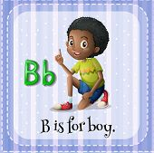 picture of letter b  - Flashcard letter B is for boy - JPG