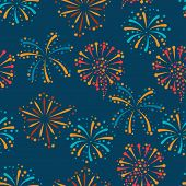 picture of salute  - Seamless pattern with abstract fireworks and salute - JPG