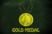 foto of gold medal  - goals and success - JPG