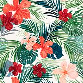 foto of hawaiian flower  - Summer colorful hawaiian seamless pattern with tropical plants and hibiscus flowers - JPG