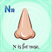 foto of letter n  - Flashcard letter N is for nose - JPG