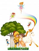 pic of unicorn  - Knight and princess hugging with fairies and unicorn - JPG