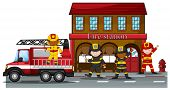 stock photo of fire-station  - Firefighters working at the fire station - JPG
