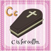foto of coffin  - Flashcard alphabet C is for coffin - JPG