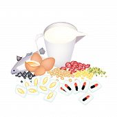 picture of cod  - Medical Concept Cod Liver Oil Capsules and Vitamine Capsules with Fish Egg Milk and Beans - JPG