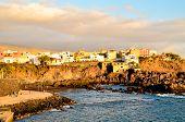 stock photo of atlantic ocean beach  - Playa san Juan Tenerife Dry Lava Coast Beach in the Atlantic Ocean - JPG