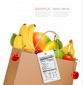 pic of nutrients  - Shopping bag with healthy fruit and a nutrient label - JPG