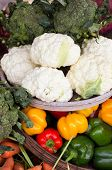 stock photo of farmers market vegetables  - raw bunches of fresh organic vegetables on farmer market - JPG