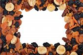 image of dry fruit  - Frame of various dried fruits  - JPG