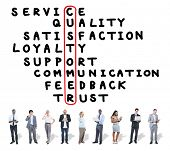 stock photo of scrabble  - Customer Service Quality Satisfaction Crossword Puzzle Concept - JPG