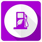 stock photo of biodiesel  - biofuel pink flat icon bio fuel sign  - JPG