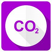 stock photo of carbon-dioxide  - carbon dioxide pink flat icon co2 sign  - JPG