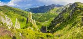 picture of cloud forest  - Panorama of one of the mountain ranges of the Carpathians with rocky outcrops stone placers bush and forest on the background of sky with clouds - JPG