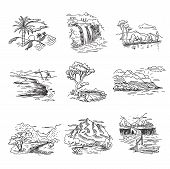 foto of draft  - Hand drawn rough draft doodle sketch nature landscape illustration with sun hills sea forest waterfall - JPG