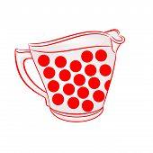 stock photo of jug  - Milk jug with red dots part of porcelain vector illustration - JPG