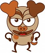 stock photo of clenched fist  - Cute brown dog in minimalistic style with big hanging ears - JPG