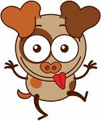 pic of dog ears  - Cute brown dog in minimalistic style with big hanging ears and pointy tail while raising its arms - JPG
