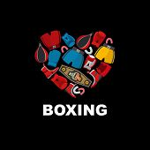 image of boxing  - Symbol of the heart of boxing gear - JPG