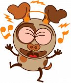 foto of generous  - Cute brown dog in minimalistic style with big hanging ears and pointy tail while wearing earphones - JPG