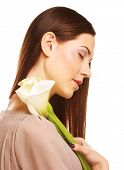 picture of calla  - beautiful woman with calla flower isolated on white - JPG