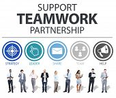 image of collaboration  - Support Teamwork Partnership Group Collaboration Concept - JPG
