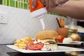 image of hamburger  - Chef decorated Hamburger French Freid and vegetable salad  - JPG