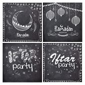 stock photo of ramadan mubarak card  - Set of greeting cards decorated with different Islamic elements in chalkboard style for holy month of Muslim community - JPG