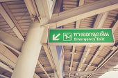 image of emergency light  - Emergency exit sign in skytrain station Bangkok Thailand - JPG