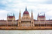 stock photo of hungarian  - Front View of Hungarian Parliament building from Danube river - JPG
