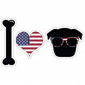 stock photo of pug  - I Love Pugs With American Symbols With Black Shape Dog - JPG
