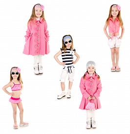 picture of little girls photo-models  - Collection of photos adorable smiling little girl posing isolated on a white - JPG
